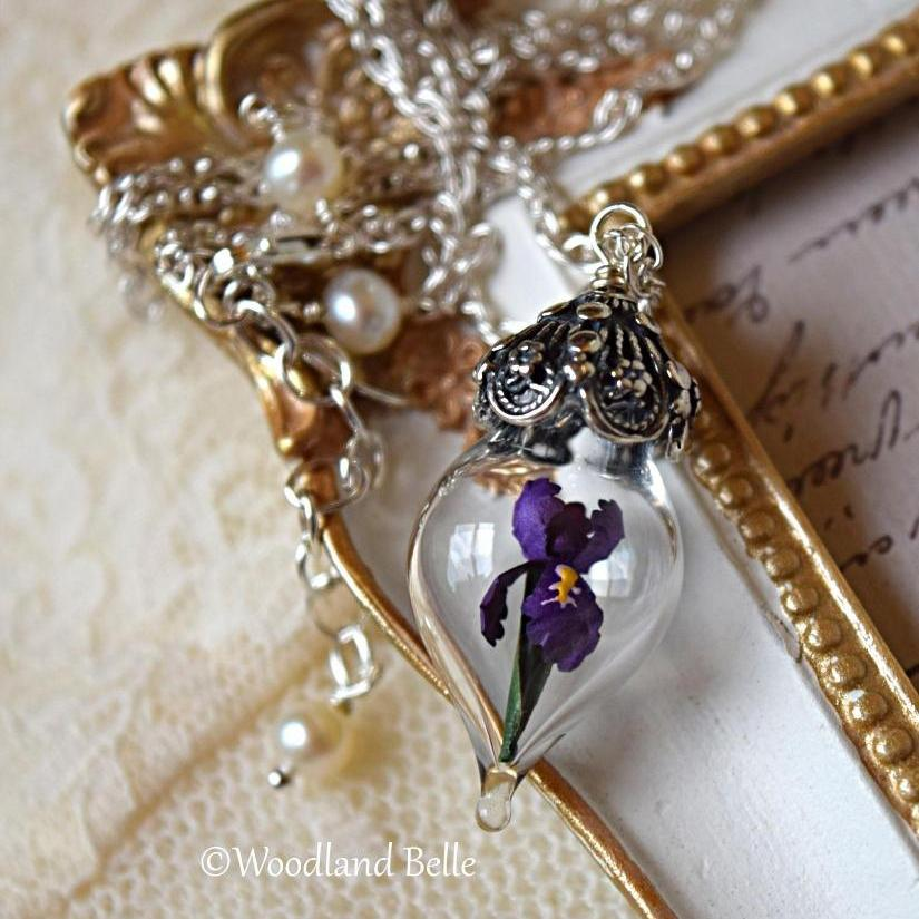 Purple Iris Flower Necklace - Glass Terrarium Pendant - Personalized Gift - Sterling Silver, Gold, or Rose Gold - by Woodland Belle