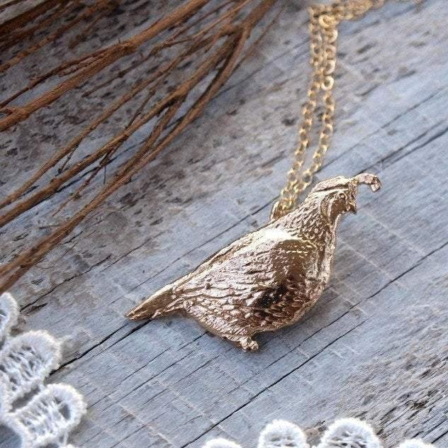 Quail Necklace - Bronze California Quail Bird Pendant - 14kt Gold Fill Chain - Mori Girl Necklace, Gift for Her by Woodland Belle