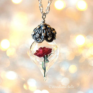 Red Rose Glass Flower Pendant Necklace - Beauty & the Beast - Sterling Silver, Gold, or Rose Gold - Personalized Anniversary Gift