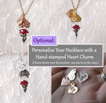Load image into Gallery viewer, Red Rose Necklace - Personalized Gift, Initials/Date - Sterling Silver, Gold, or Rose Gold - Glass Flower Pendant - by Woodland Belle