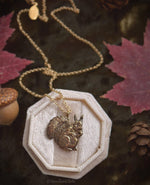 Load image into Gallery viewer, Red Squirrel Necklace - Gold Bronze Squirrel Pendant - Small Animal Charm Jewelry - Squirrel Lover Gift - Cottagecore - by Woodland Belle