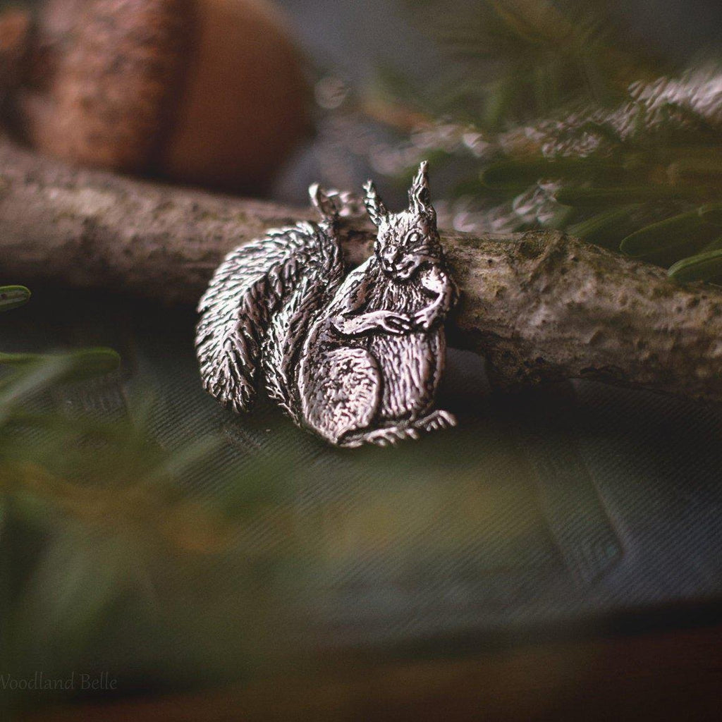 Red Squirrel Necklace - Sterling Silver Squirrel Pendant - Small Animal Charm Jewelry - Squirrel Lover Gift - Recycled - by Woodland Belle
