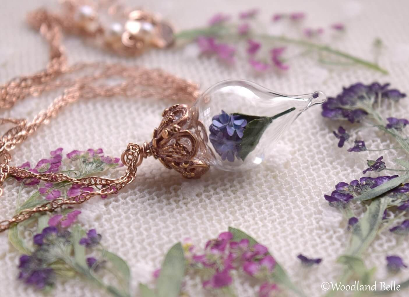 Rose Gold Purple Hydrangea Necklace - Pink Gold Glass Flower Pendant - Personalized Initials/Date - Cottagecore Necklace - by Woodland Belle