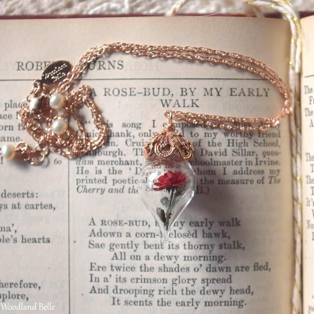 Rose Gold Red Rose Necklace - Flower Glass Pendant - Pink Gold Beauty & the Beast Necklace - Personalized Initials/Date, Gift for Wife