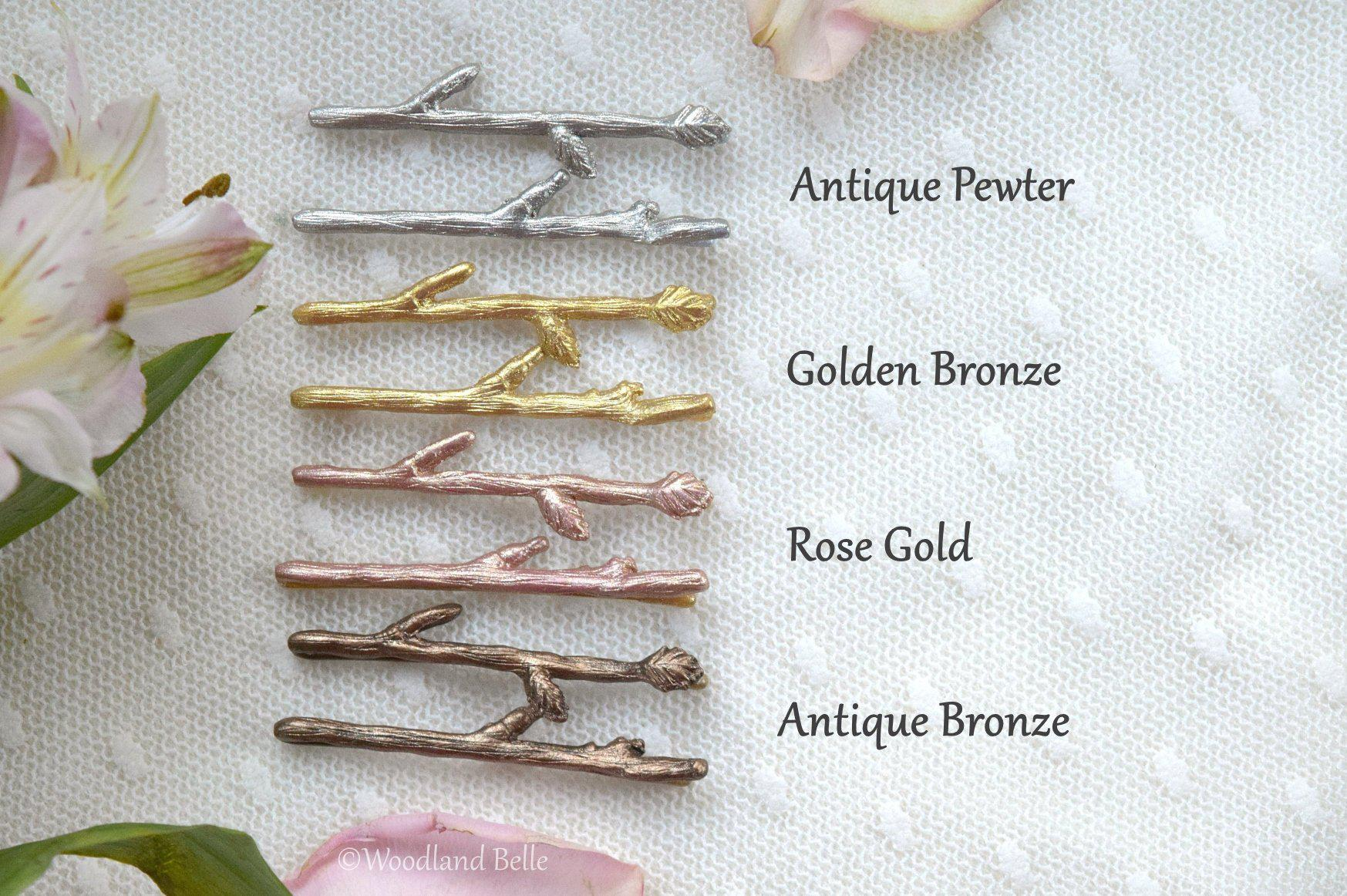Rose Gold Twig Hair Pins - Pink Gold Branch Bobby Pins Clips - Rustic Bridal Hair Pins - Gift for Her by Woodland Belle