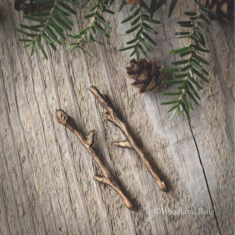 Rustic Branch Hair Pins - Twig Hair Clips - Branch Bobby Pins - Twig Hair Pins - Bella Rustica Antique Bronze by Woodland Belle