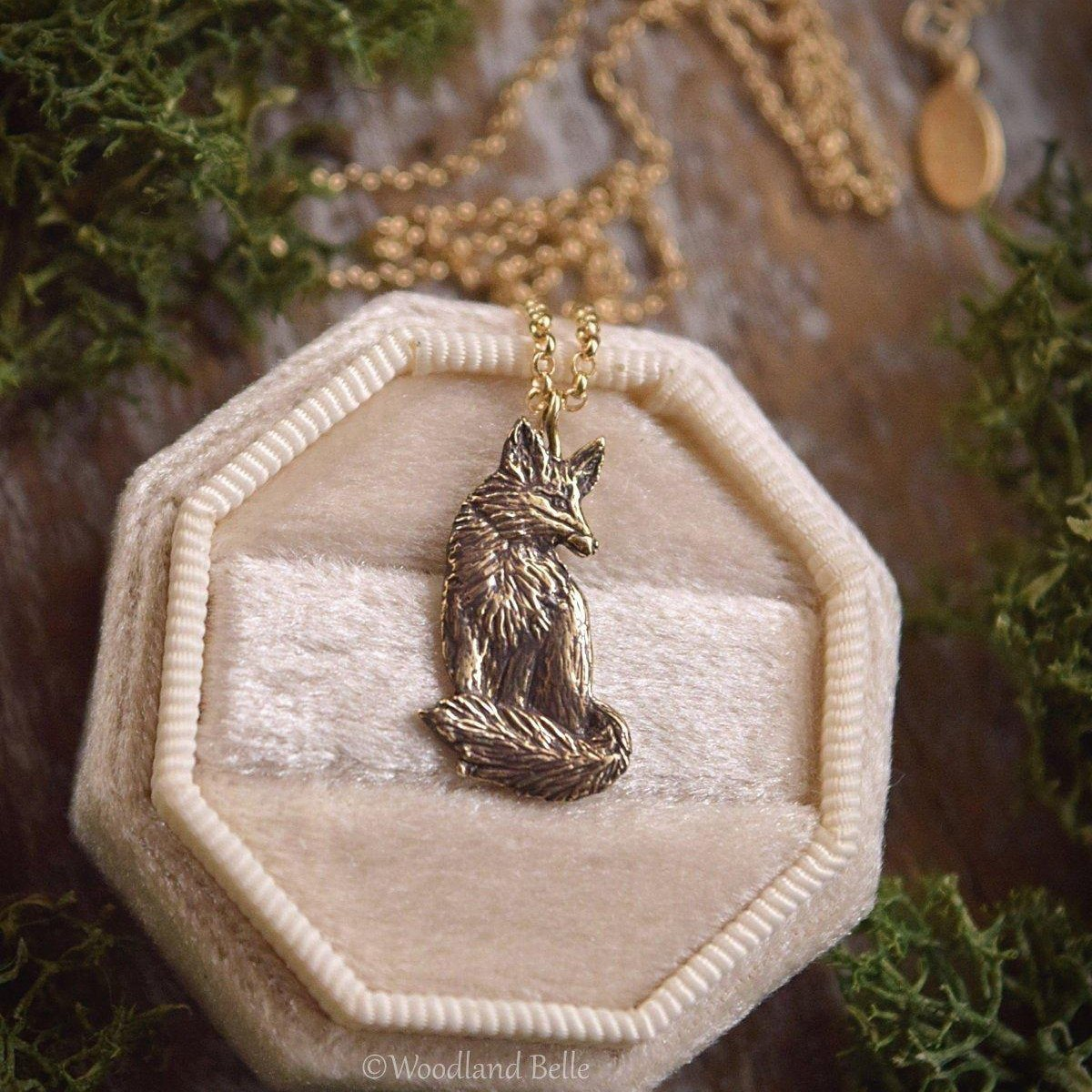 Sitting Fox Necklace - Gold Bronze Red Fox Pendant - Fox Lover Gift - Small, Dainty Animal Charm Necklace - Cottagecore - by Woodland Belle