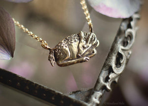 Sleeping Fawn Necklace - Sterling Silver Deer Pendant, Recyled - Small, Dainty Animal Charm Necklace - Deer Lover Gift - Woodland Belle