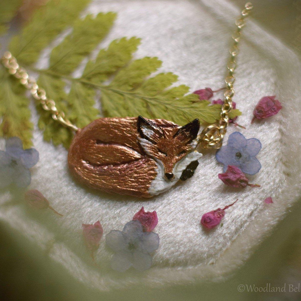 Sleeping Fox Necklace - Enameled Bronze Red Fox Pendant - Fox Lover Gift - Small, Dainty Animal Necklace - Cottagecore - by Woodland Belle