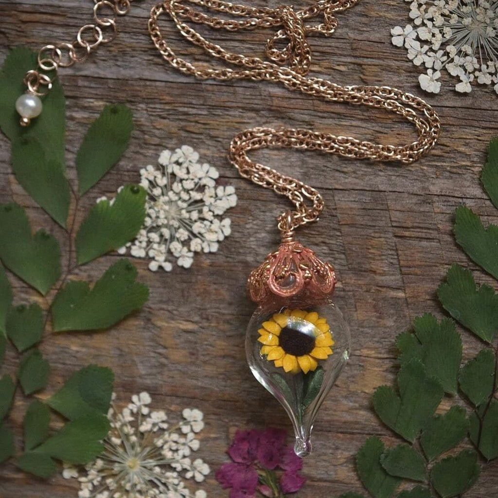 Sunflower Necklace - Rose Gold Glass Flower Pendant - Personalized Jewelry Gift - Gold, Sterling Silver, or Rose Gold - by Woodland Belle