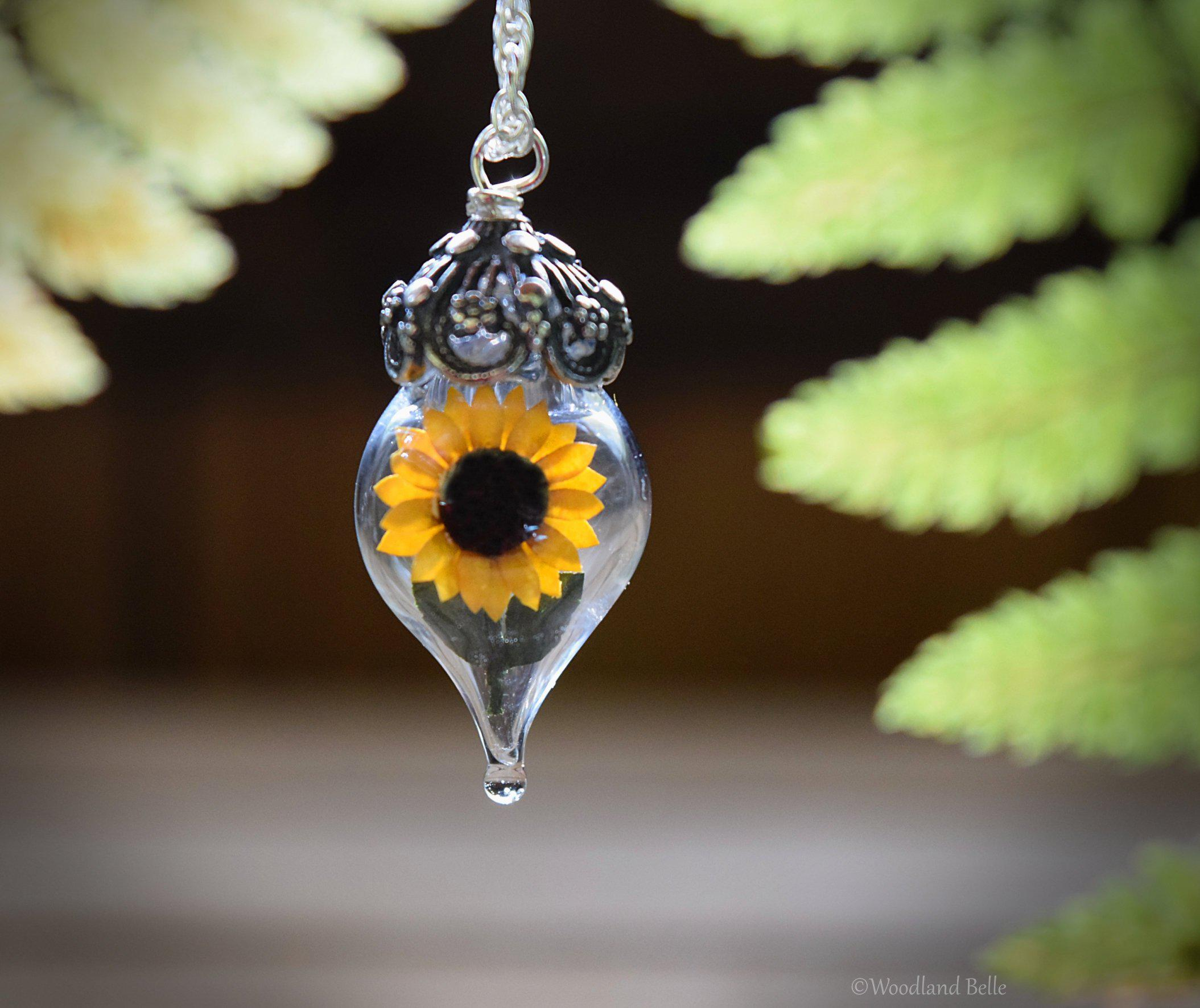 Sunflower Necklace - Silver Glass Yellow Flower Pendant - Personalized Jewelry Gift - Gold/Sterling Silver/Rose Gold - by Woodland Belle