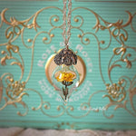 Load image into Gallery viewer, Yellow Rose Necklace - Glass Flower Pendant - Sterling Silver, Gold, or Rose Gold - Personalized Mother, Grandmother Gift -by Woodland Belle
