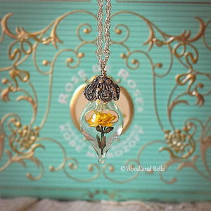 Yellow Rose Necklace - Glass Flower Pendant - Sterling Silver, Gold, or Rose Gold - Personalized Mother, Grandmother Gift -by Woodland Belle