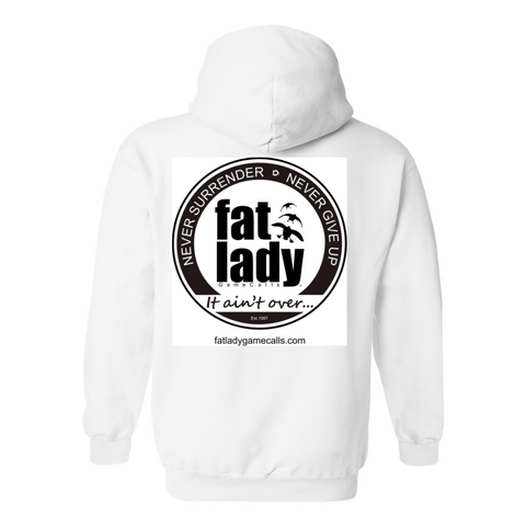 Classic Fat Lady Game Calls Hoodie - White