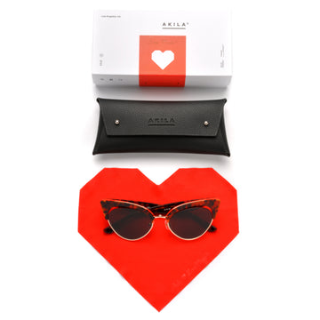 Akila x Love Made Cat Eye Sunglasses - Red Tortoise