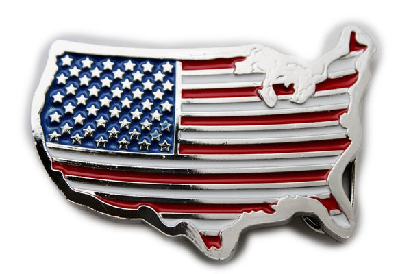 Silver Metal United States Of American Flag Continent Belt Buckle New Men Women Accessories