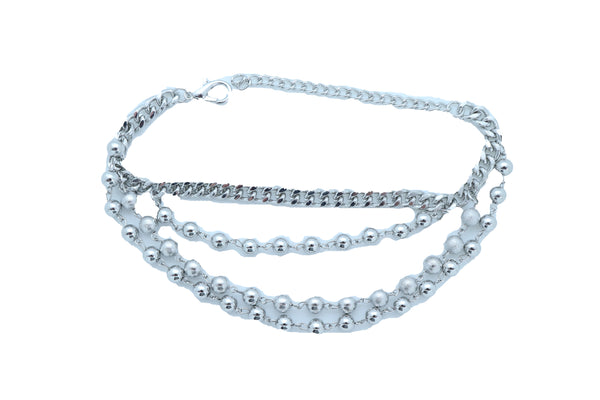 Brand New Women Silver Metal Boot Chain Bracelet Anklet Shoe Western Balls Charms Jewelry