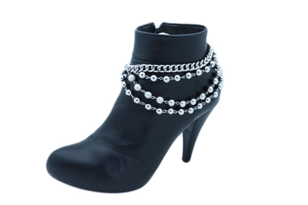 Gold / Silver Metal Chains Boot Bracelet Big Rhinestones Center Ring Bling Anklet Shoe Charm