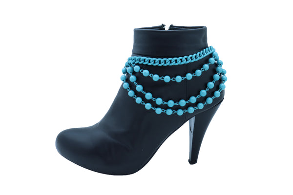 Women Turquoise Light Blue Metal Chain Boot Bracelet Anklet Shoe Balls Charm Jewelry
