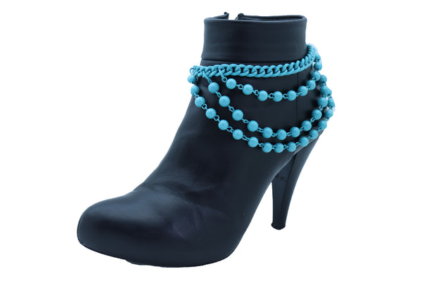 Brand New Women Turquoise Blue Metal Chain Boot Bracelet Anklet Shoe Balls Charm Jewelry