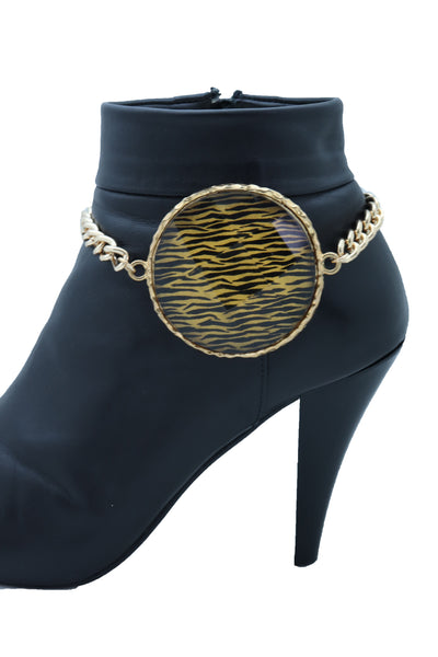 Sexy Women Gold Metal Chain Boot Bracelet Shoe Bling Zebra Charm Fashion Jewelry One Size