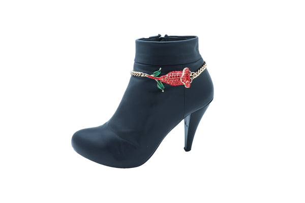 Women Fashion Gold Metal Chain Boot Bracelet Shoe Anklet Red Flower Bling Charm One Size