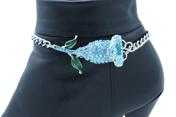 Brand New Women Fashion Silver Metal Chain Boot Bracelet Shoe Anklet Sky Blue Flower Charm