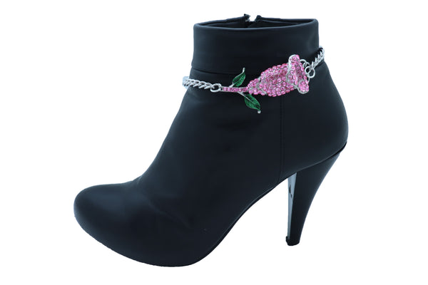 Brand New Women Silver Metal Chain Collection Boot Bracelet Shoe Pink Flower Elegant Charm