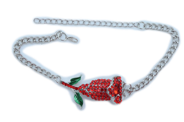 Women Silver Metal Chain Boot Bracelet Heel Shoe Anklet Red Flower Bling Charm One Size