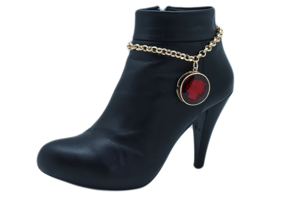 Women Gold Metal Boot Chain Bracelet Heel Shoe Anklet Big Red Bling Bead Charm One Size Adjustable Band