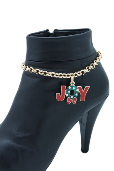 Brand New Women Gold Metal Chain Boot Bracelet Anklet Shoe Red JOY Charm Christmas Jewelry