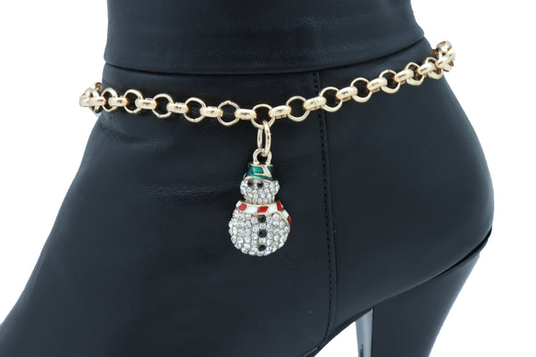 Brand New Women Gold Metal Boot Chain Bracelet Anklet Shoe Charm Winter Snowman Christmas