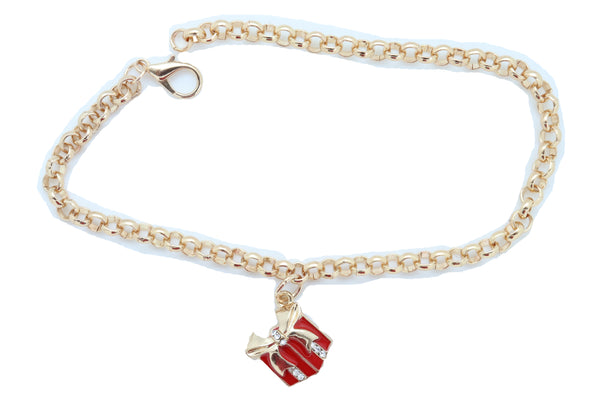 Brand New Women Gold Metal Chain Boot Bracelet Shoe Bling Red Gift Present Charm Christmas