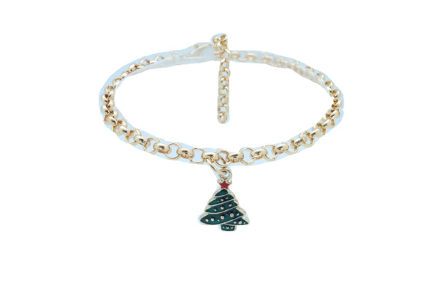 Brand New Women Gold Metal Boot Chain Bracelet Shoe Anklet Christmas Holiday Tree Charm