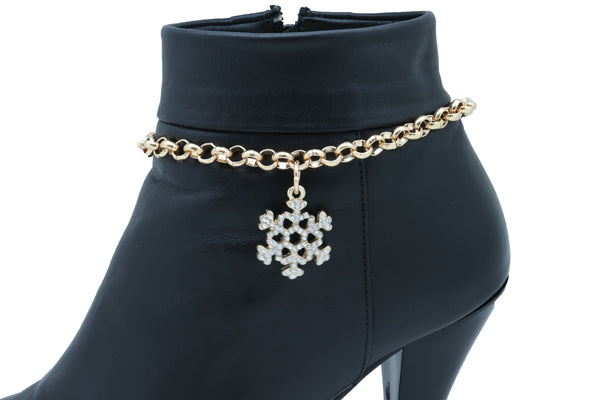 Brand New Women Gold Metal Chain Boot Bracelet Anklet Snowflake Shoe Bling Charm Jewelry