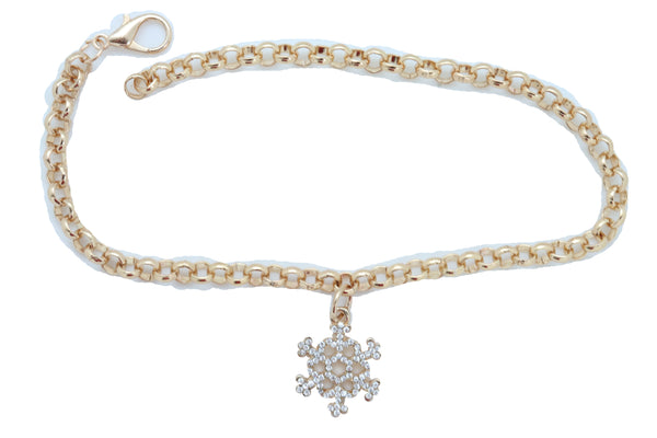 Women Gold Metal Chain Boot Bracelet Anklet Snowflake Shoe Bling Charm Jewelry Adjustable Size