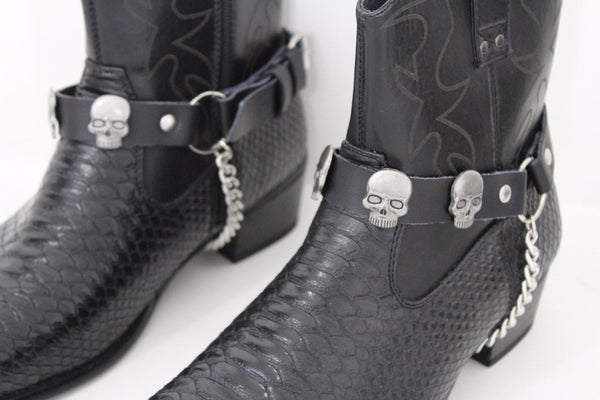 Men Women Black Faux Leather Boots Chains Strap Western Shoe Silver Metal Pirates Skulls Face