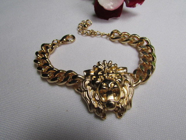 Gold Metal Thick Light Chains Bracelet Big Lion Head Trendy New Women Fashion Jewelry Accessories - alwaystyle4you - 5