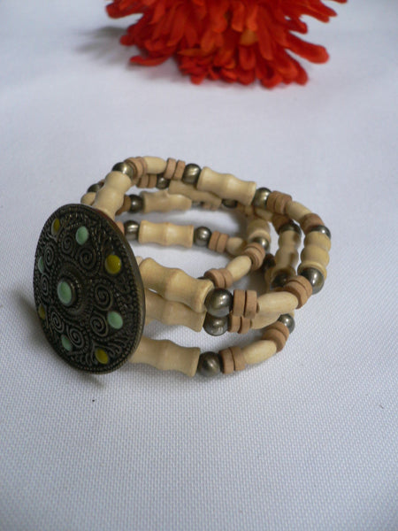 Beige Brown Wood Cream / Brown Bracelet Gold Dots Beads Native Style Fashion New Women Jewelry Accessories - alwaystyle4you - 12