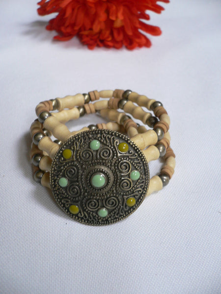 Beige Brown Wood Cream / Brown Bracelet Gold Dots Beads Native Style Fashion New Women Jewelry Accessories - alwaystyle4you - 17