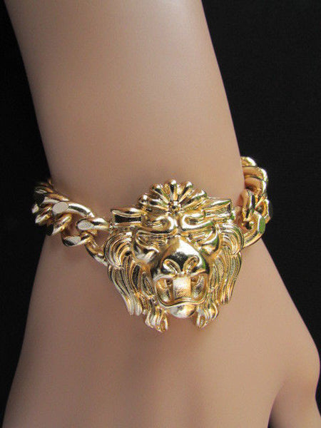 Gold Metal Thick Light Chains Bracelet Big Lion Head Trendy New Women Fashion Jewelry Accessories - alwaystyle4you - 11