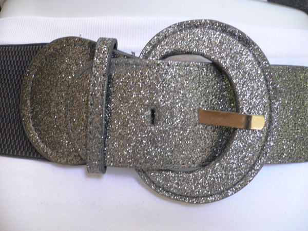 Gray / Dark Gray / Black / Gold / Brown / Brown Bronze / Red Elastic Hip Waist Sparkling Belt New Women Fashion Accessories XS To XL - alwaystyle4you - 29