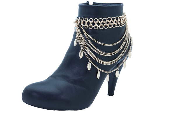 Women Gold Metal Chain Boot Bracelet Anklet Shoe Leaf Charm Jewelry Wave Strands One Size