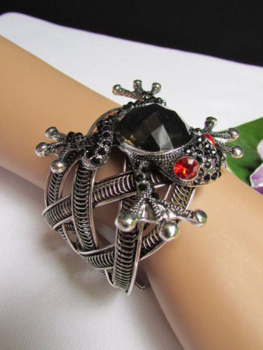 Silver Metal Cuff Bracelet Big Frog Black/Blue/ White Rhinestone Beads Red Eye Women Accessories