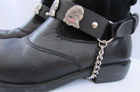 Eagle USA Flag New Biker Men Western Women Boot Silver Chain Pair Leather Straps - alwaystyle4you - 1