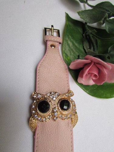 Aqua Blue / Pink / Light Pink / Black Faux Leather Strap Nude Bracelet Gold Metal Owl Head Black Rhinestone Fashion New Women Jewelry Accessories - alwaystyle4you - 15