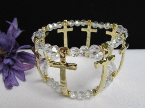 Gold Crosses Elastic Metal Cuff Bracelet Clear Beaded Trendy New Women Fashion Jewelry Accessories - alwaystyle4you - 3