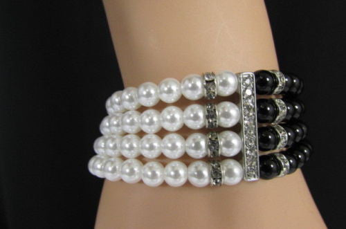 Black Cream / Pewter Black Imitation Pearl Beads Elastic Bracelet New Women Fashion Jewelry Accessories - alwaystyle4you - 1