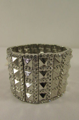 Silver Metal Elastic Bracelet Pyramid Punk Rocker Fashion New Women Jewelry Accessories - alwaystyle4you - 5