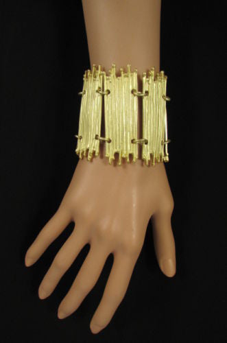 Gold Silver Metal Wide Elastic Stretch Bracelet Bamboo Plates New Women Fashion Jewelry Accessories - alwaystyle4you - 12